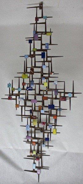 22: Mid C Brutalist Wall Sculpture W/ Enamel + Iron