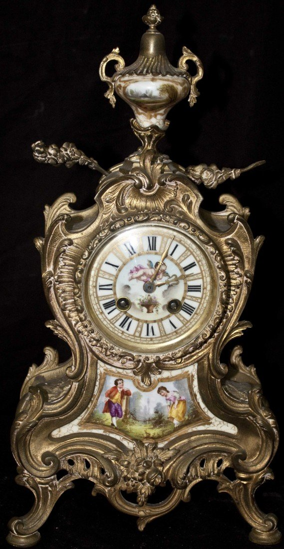 74: 19c French Porcelain Mounted Bronze Clock