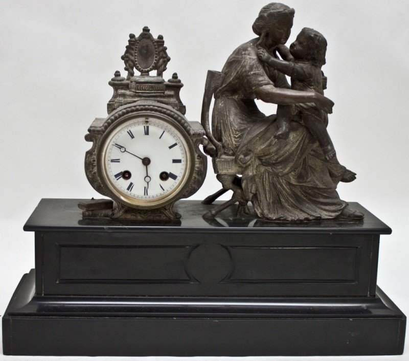 75: 19c Bronze Patinated White Metal Clock On Marble