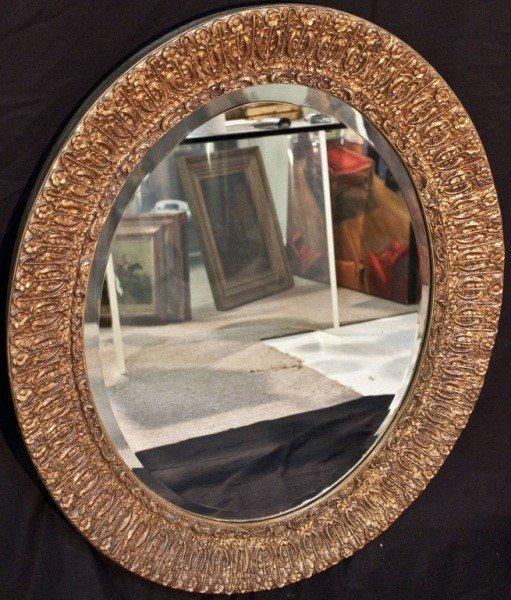 129: 19c French Gilt Berled Oval Mirror