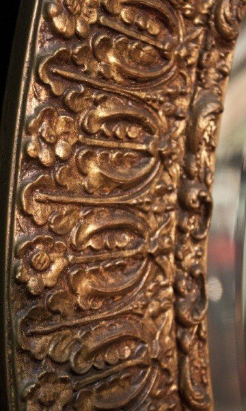 129: 19c French Gilt Berled Oval Mirror - 3