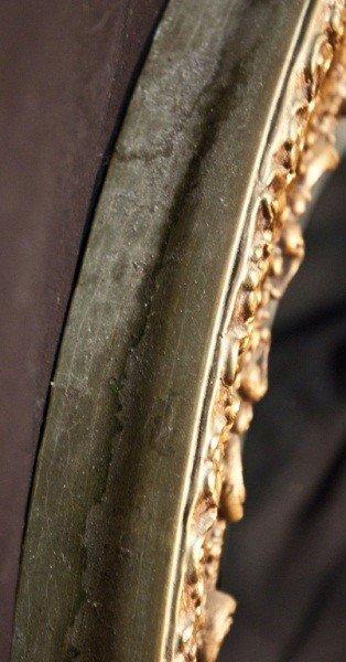 129: 19c French Gilt Berled Oval Mirror - 5
