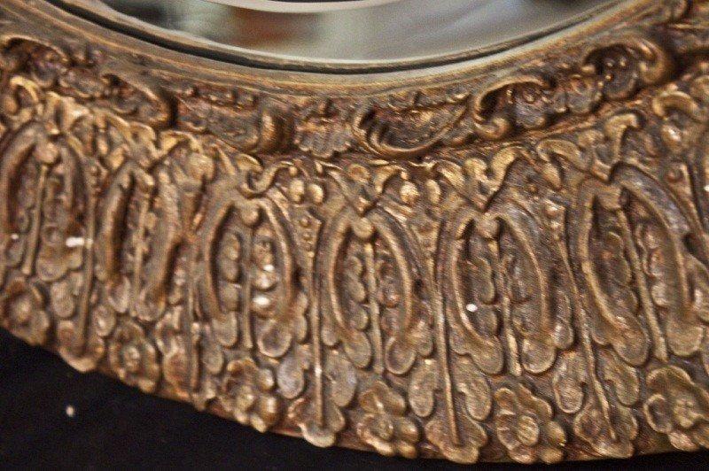 129: 19c French Gilt Berled Oval Mirror - 6