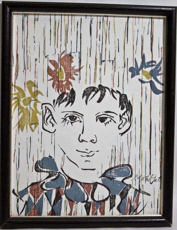 4: Moshe Gat Judaica,  Signed Wood Block Print