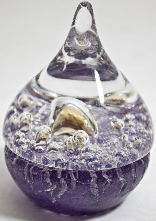 10: Kosta Boda Purple & Gold Murano Glass Paperweight