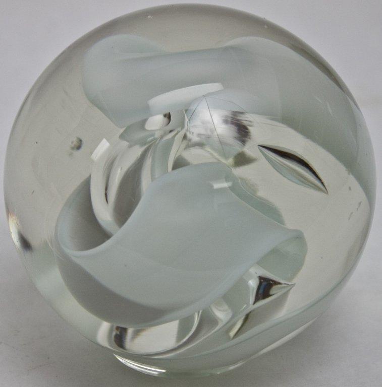 13: Murano Glass And White Globe Paperweight