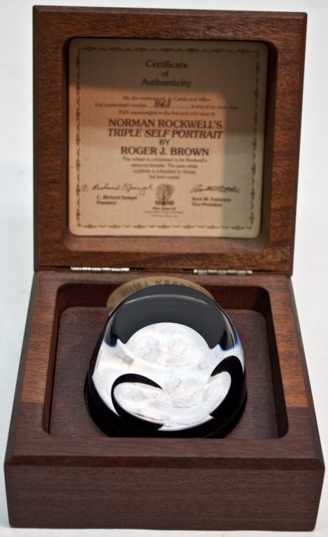 17: Certified Norman Rockwell Crystal Paperweight - 6