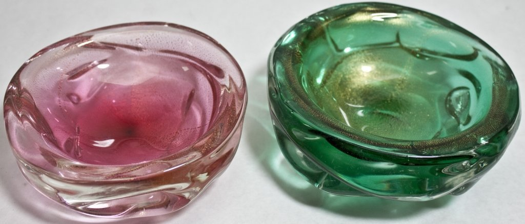 22: (2) Gold Flecked Murano Glass Candy Dishes