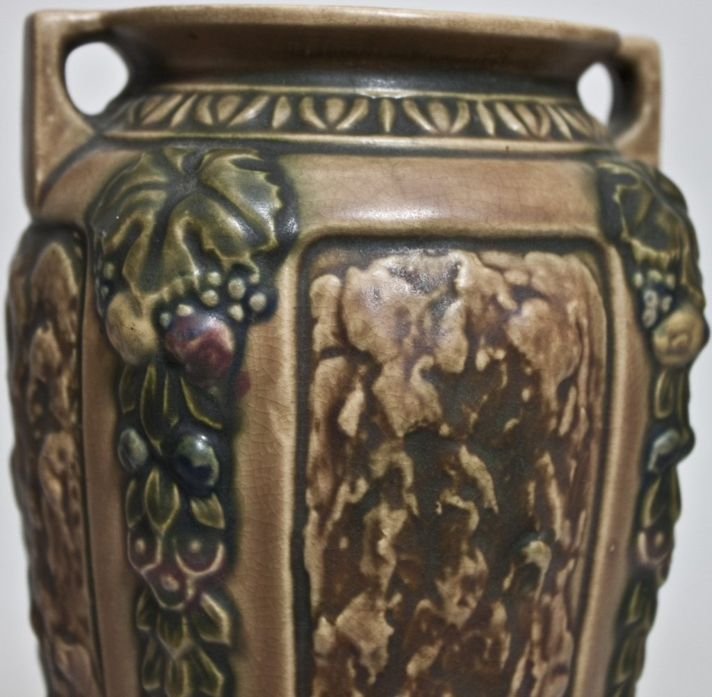43: Roseville USA  Brown and Green Pottery Vase - 3