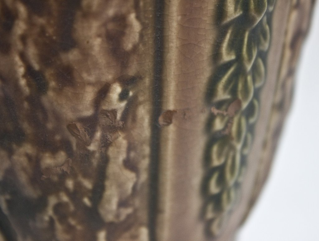 43: Roseville USA  Brown and Green Pottery Vase - 4