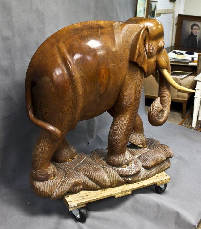 70: Huge Teak Wood Elephant Sculpture - 3