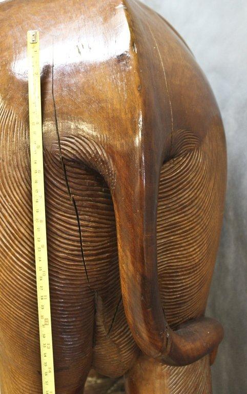 70: Huge Teak Wood Elephant Sculpture - 8