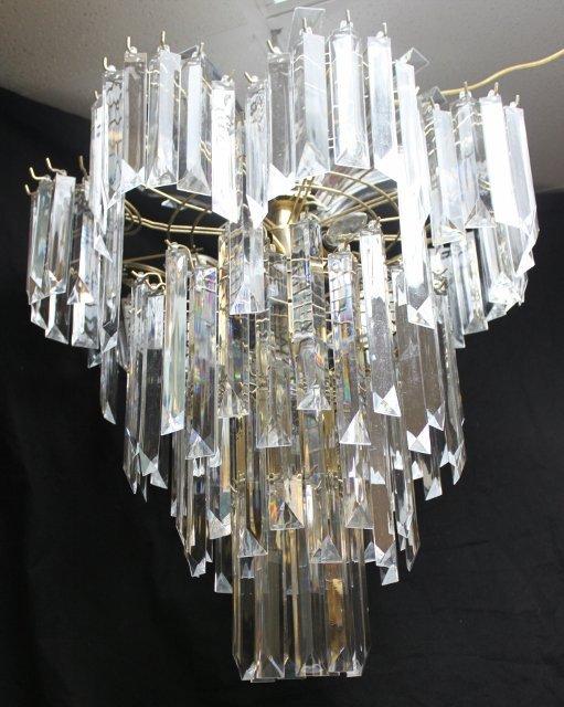 102: Unique Lucite Crystal Chandelier - 3