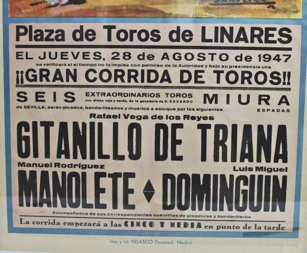 161: Original 1947 Spanish Bull Fighting Poster - 2