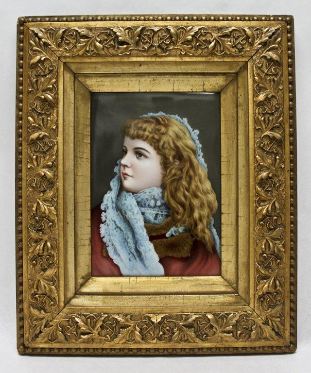 228: Enamel Painted Portrait on Berlin Porcelain Plaque