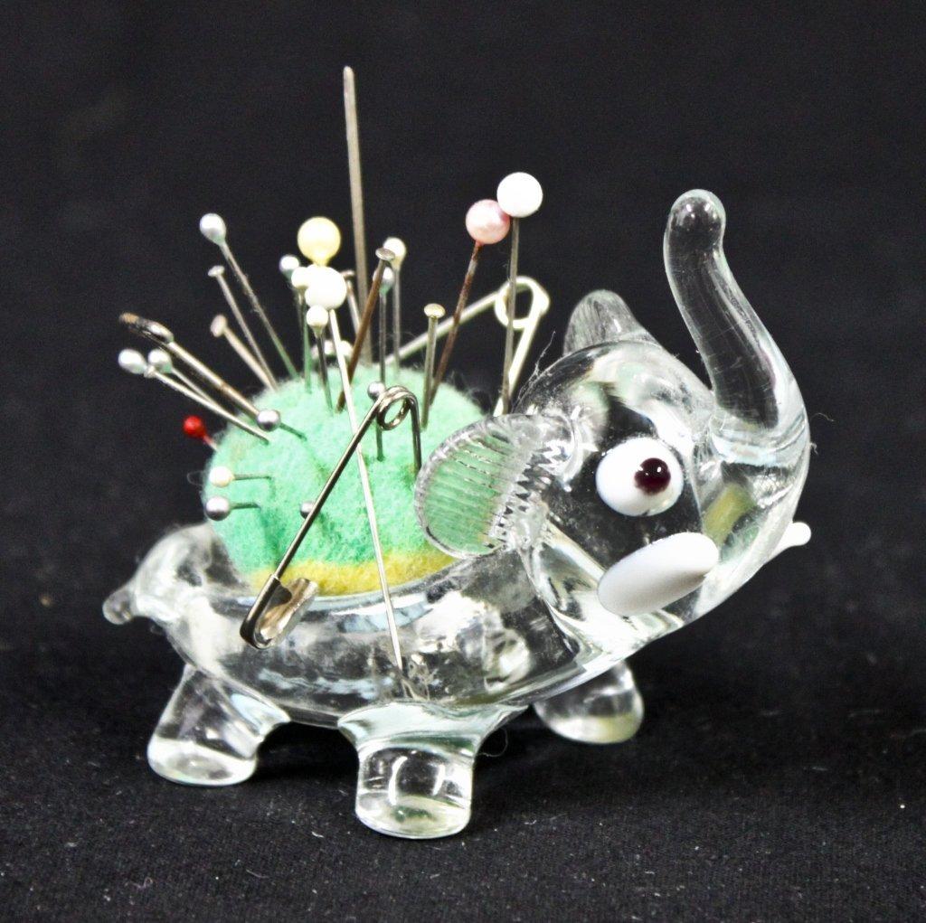 4: Miniature Murano Crystal Elephant Pin Cushion