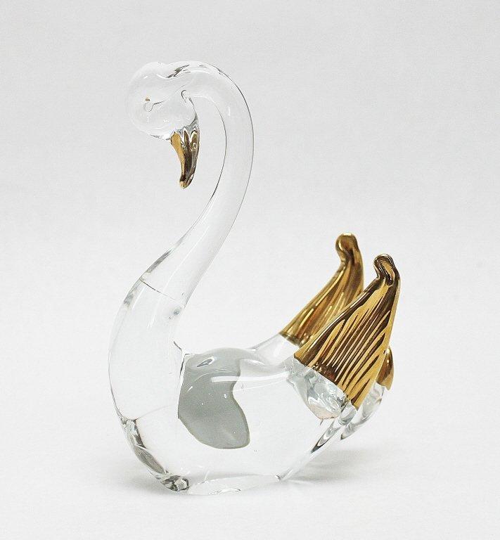 10: Murano Clear & Gold Art Glass Swan