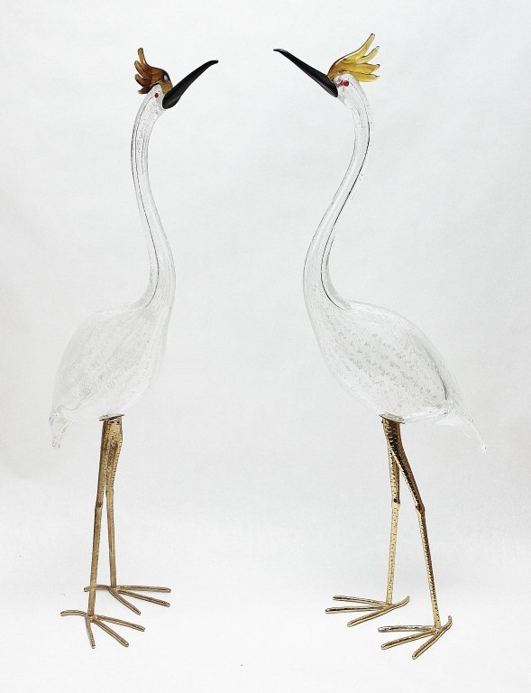 11: Pair of Life Size Murano  Art Glass Crested Herons