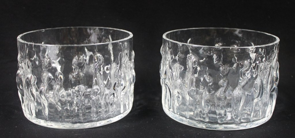 14: Pair of Crystal Serving Bowls w/ Figural Imagery