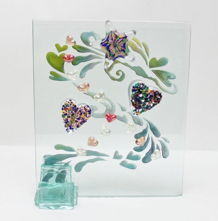 15: Rainbow Hearts Crystal Art Glass Sculpture
