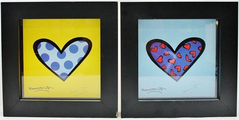 """16:(2) Romero Britto Serigraphs """"Hearts"""""""