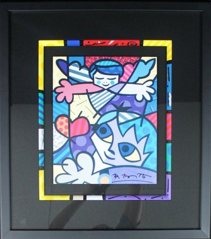 """20: Romero Britto Signed Serigraph """"Guardian Angel"""""""