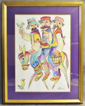 "Obican Watercolor On Paper ""Three On A Donkey"""