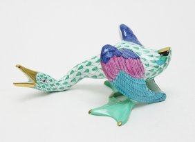 Herend, Hungary Fishnet Porcelain Squawking Goose