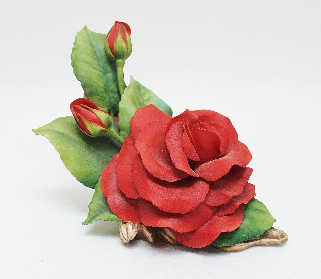 "81: Boehm Bone Porcelain  ""Alec's Red Rose"" Sculpture"