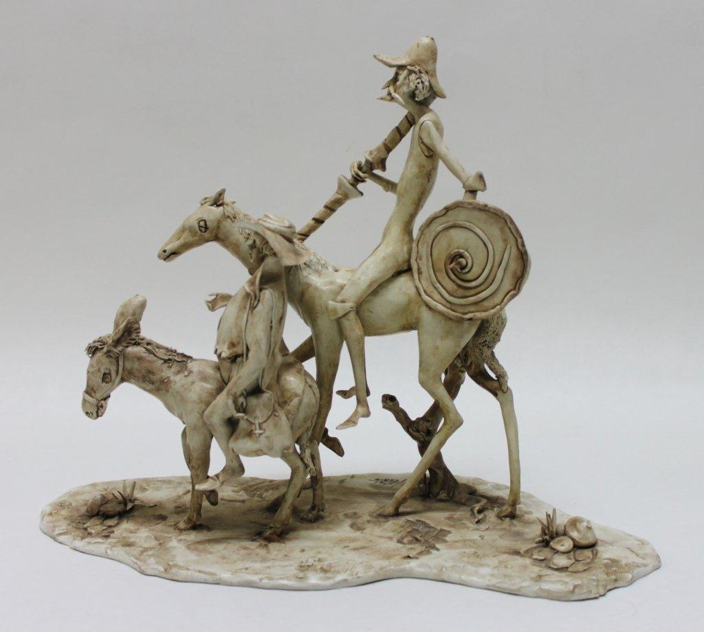 82: Longo Cerva Italy Porcelain Sculpture Don Quixote