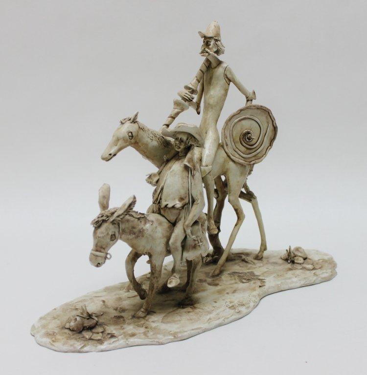 82: Longo Cerva Italy Porcelain Sculpture Don Quixote - 3