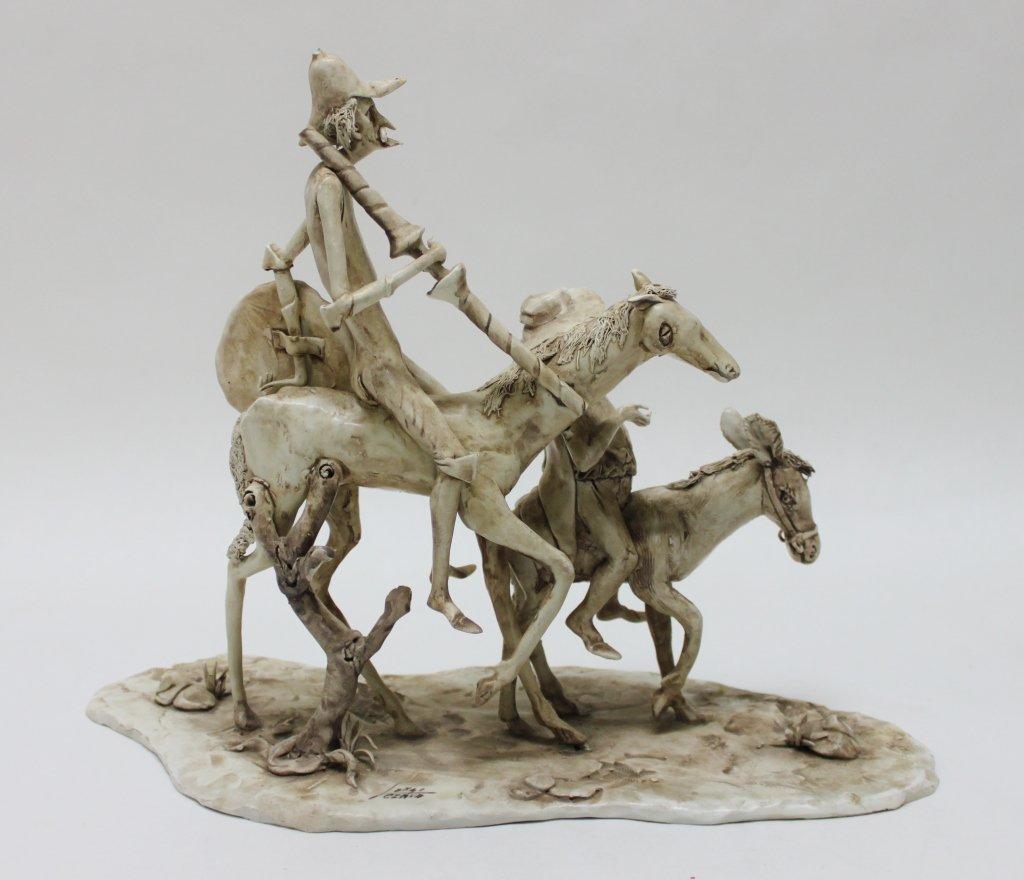 82: Longo Cerva Italy Porcelain Sculpture Don Quixote - 6