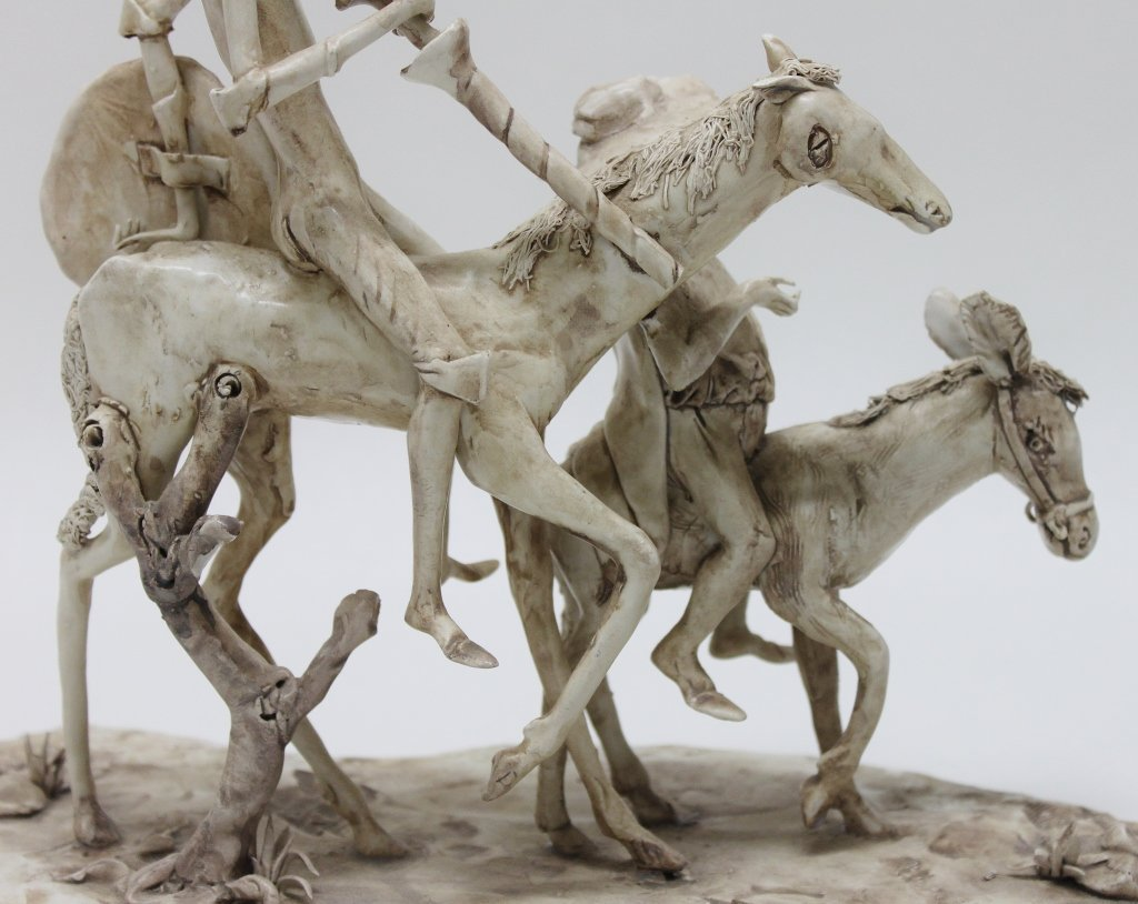 82: Longo Cerva Italy Porcelain Sculpture Don Quixote - 7