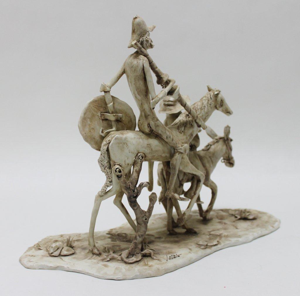 82: Longo Cerva Italy Porcelain Sculpture Don Quixote - 8