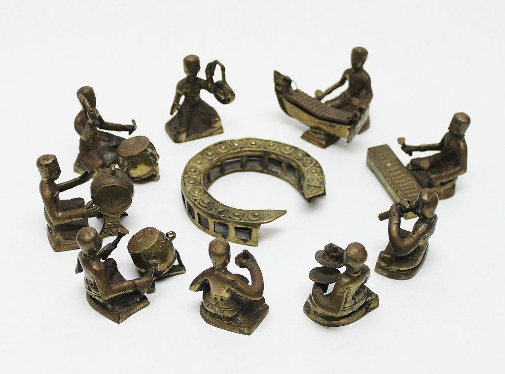 85: (15) Piece Asian Bronze Drum Circle Figurine Set