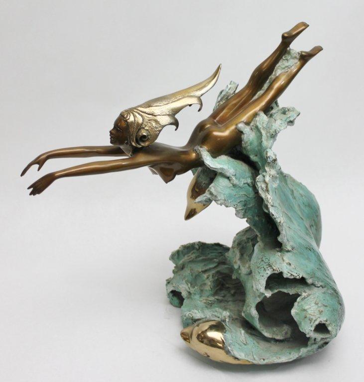 "86: Angelo Basso Bronze Sculpture, ""Companions"""