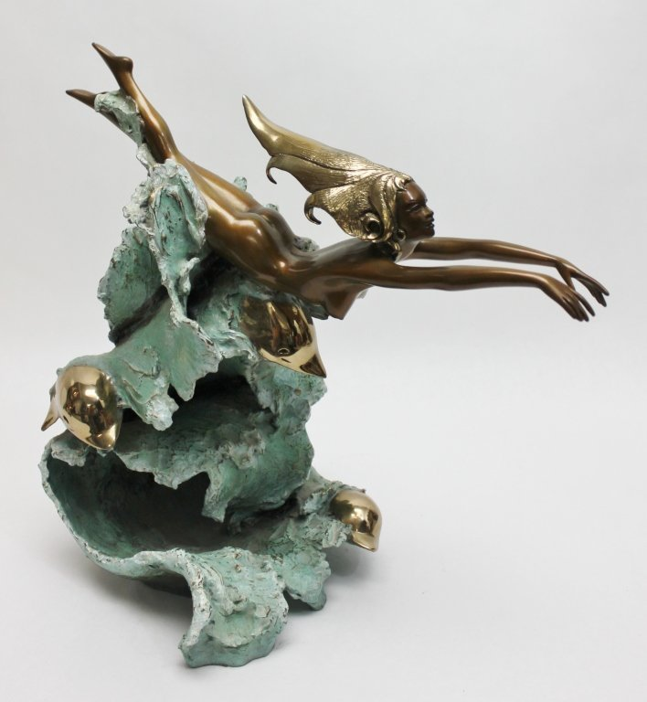 "86: Angelo Basso Bronze Sculpture, ""Companions"" - 3"