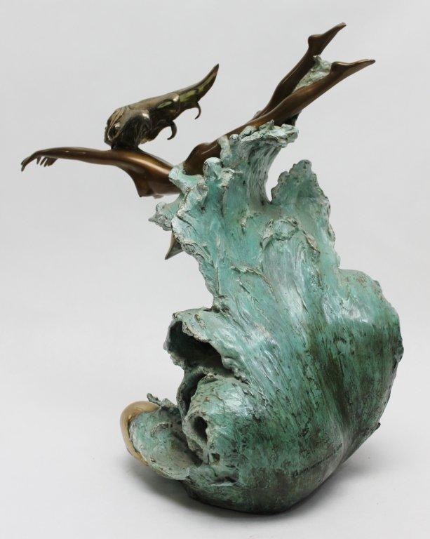 "86: Angelo Basso Bronze Sculpture, ""Companions"" - 7"