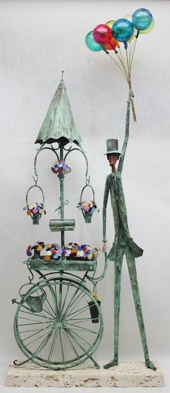87: Jim Lewk Copper Balloon / Flower Man Sculpture