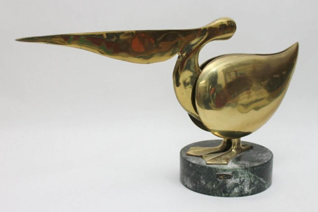 90: Bijan Brass Pelican Sculpture