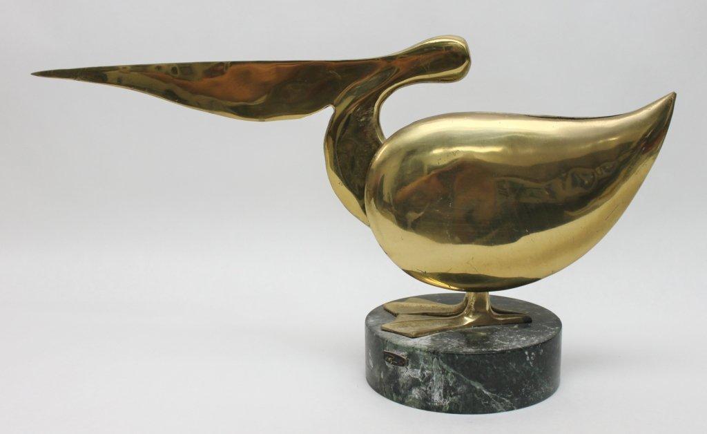 90: Bijan Brass Pelican Sculpture - 3