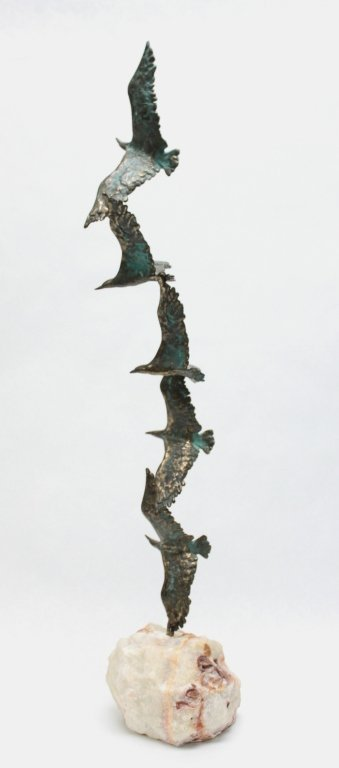 93: Curtis Jere Bronze Seagulls in Flight Sculpture
