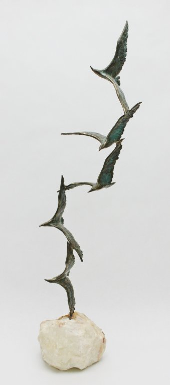 93: Curtis Jere Bronze Seagulls in Flight Sculpture - 3