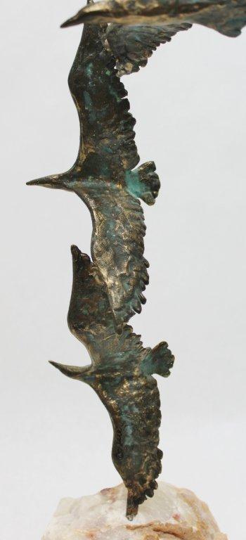 93: Curtis Jere Bronze Seagulls in Flight Sculpture - 6