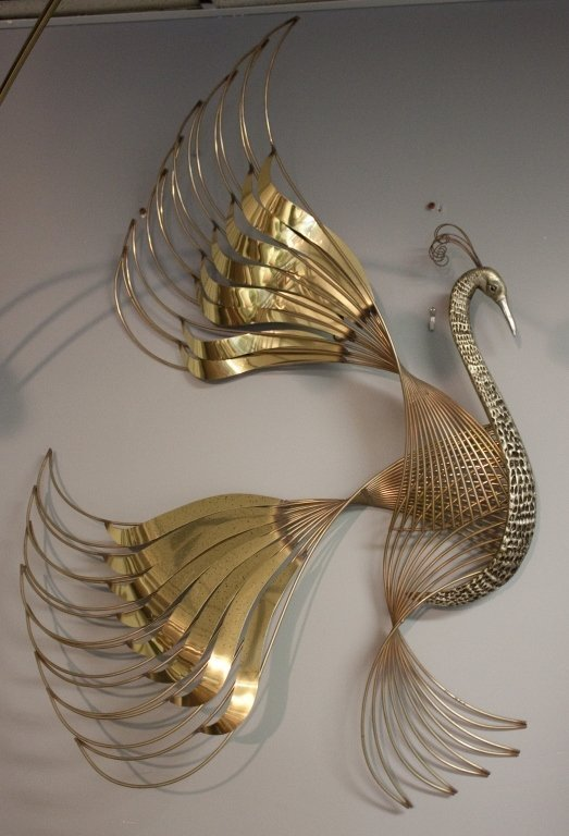 94: C. Jere Wire / Mixed Metal Peacock Wall Sculpture