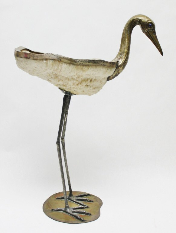 96: Binazzi Foresto Coral and Brass Heron Sculpture