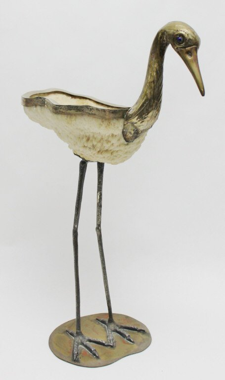 96: Binazzi Foresto Coral and Brass Heron Sculpture - 3