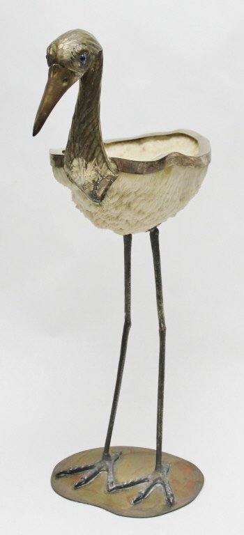 96: Binazzi Foresto Coral and Brass Heron Sculpture - 4