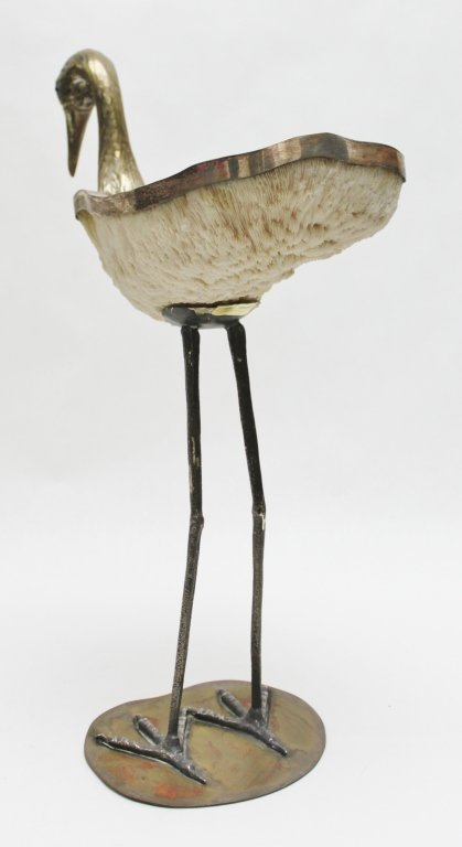 96: Binazzi Foresto Coral and Brass Heron Sculpture - 6