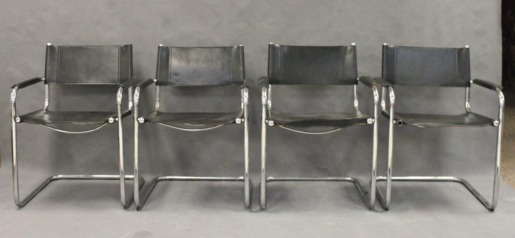 145: Set Of (4) Stendig Black Leather U0026 Chrome Chairs